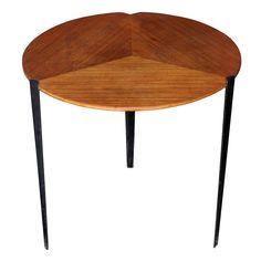 Made by Tecno. Small table by Osvaldo Borsani 1911 – 1985. Height: 45,5, Diameter: 50 Period: 1950′s Enameled Metal &Teak.