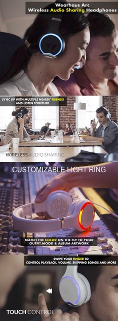 Wearhaus Arc Wireless Audio Sharing Headphones: Sync up with multiple nearby friends and listen to music together. Customize light rings to match your style & intuitive touch controls for easy playback and sharing. - CoolShitiBuy.com