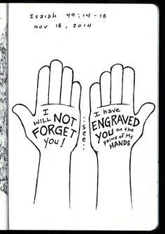 Engraved on the Palms of My Hands • Isaiah 49 • Devotions Sketchbook • Aaron Zenz