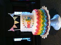 Rainbow chevron cake #rainbowparty #rainbowcake #chevron #chevroncake