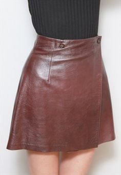 VINTAGE 1960'S DEEP BROWN LEATHER MINI SKIRT Leather Mini Skirts, Leather Skirt, Thrift Haul, Deep Brown, Thrifting, 1960s, Brown Leather, Cupboard, How To Make