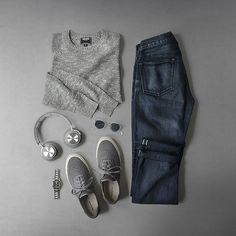 Knits and kicks.  Sweater: @toddsnyderny Cotton Crewneck in Charcoal Shoes: @grayers x @seavees Legend Sneaker Headphones: @beoplay H7 Watch: @hamiltonwatch Seaview Auto Sunglasses: @oliverpeoples Gregory Peck Denim: RRL @ralphlauren Black/Blue Wash