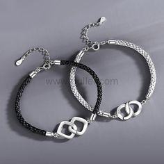 Connecting Rings Couple Promise Bracelets Set by Gullei.com Personalized Couples Gifts   Matching Necklaces & Bracelets   Custom Promise Rings