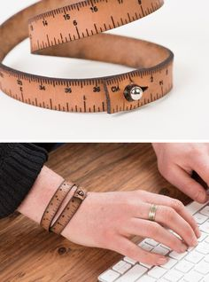 For an efficient measuring tool on the go, the Wrist Ruler offers inch and centimeter measurements laser cut into a snappy leather wrap bracelet that circles your wrist twice. Made with care in the USA.