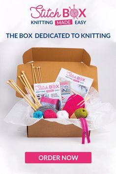Discover the Stitch Box and all its gifts! Order now your welcome box, it's only! Crotchet Stitches, Knitting Stiches, Easy Knitting, Knitting Patterns, Stitch Box, Easy Stitch, Different Stitches, Sewing Needles, Cute Cross Stitch