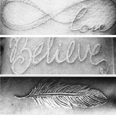 White ink tattoos <3 love the Believe font
