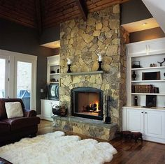 Traditional Family Room Rock Fireplace Built In Cabinets Design, Pictures, Remodel, Decor and Ideas Stone Fireplace Designs, Fireplace Ideas, Fireplace Makeovers, Fireplace Pictures, Fireplace Stone, Fireplace Mantles, Fireplace Remodel, Mantels, Woodworking Furniture Plans