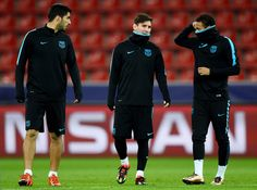 Neymar is seen with Luis Suarez and Lionel Messi during a FC Barcelona training session on the eve of the UEFA Champions League groupe E match against Bayer Leverkusen at BayArena on December 8, 2015 in Leverkusen, Germany.