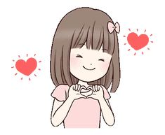 Little girl by Yukiko Ogawa sticker Little Girl Cartoon, Love Cartoon Couple, Cute Love Cartoons, Cute Love Pictures, Cute Love Gif, Girly Pictures, Cartoon Gifs, Cute Cartoon Wallpapers, Gif Lindos