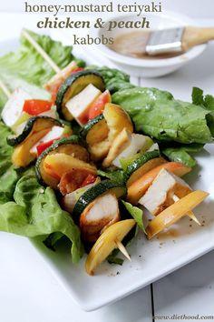 Honey-Mustard Teriyaki Chicken and Peach Kabobs | www.diethood.com | #chicken #recipe #grilling