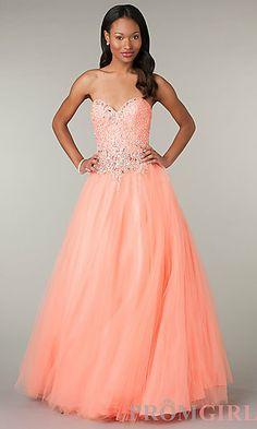 Strapless Sweetheart Full Length Dress at PromGirl.com