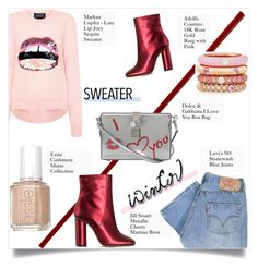 """""""Sweater Weather"""" by sofirose ❤ liked on Polyvore featuring Markus Lupfer, Levi's, Jill Stuart, Dolce&Gabbana, Adolfo Courrier, Essie, denim, Boots, Sweater and wintersweater"""