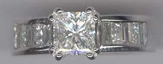 .53 carat princess diamonds, .55 carat baguette diamonds in 14 kt. white gold. Center diamond is a 1.24 carat princess cut. E color, SI2 clarity.   www.facebook.com/middiajewelery  #engagementrings