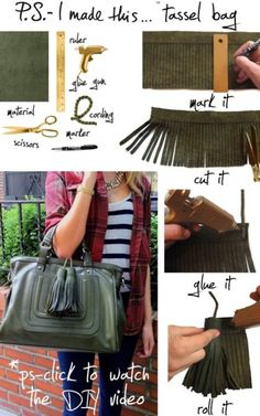 DIY Tutorial Tassel Bag. You can remove tassles and use them anywhere. #tassles #diy #purse #bag #crafts