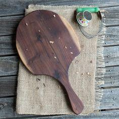Cutting Board with Handle, Black Walnut, Wood Cutting Board by BootleggersBohemians