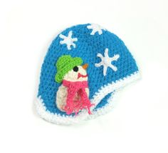 Winter earflap hat ski hat kids pixie beanie chunky hat soft wool little fairy hat snowman turquoise white snow for girl Xmas gift