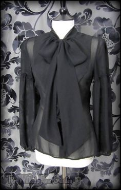 Elegant Gothic Black Sheer Ruffle Pussy Bow Blouse 10 Victorian Governess   THE WILTED ROSE GARDEN