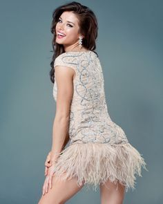 Beaded and Father Cocktail Dress, Style 2970