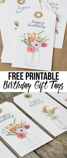 Darling (and free) printable birthday gift tags with beautiful florals. http://livelaughrowe.com