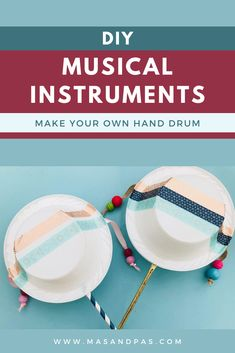Your kids can create their own musical instruments with this fun craft project tutorial! Super quick and easy to make, plus the hand drum is a great item for sensory development and fine motor skills in young children and toddlers. Easy crafts for kids #musiccrafts #musicalinstruments #craftsfortoddlers #toddleractivities #sensorycrafts