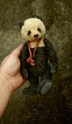 Panda Pie, One of a Kind Mohair Artist Panda Style Teddy Bear from Aerlinn Bears