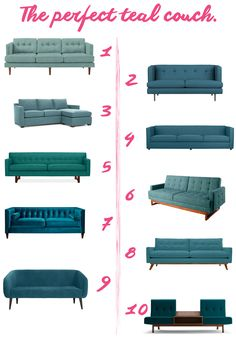 In Search of the Perfect Teal Couch - teal couches from West Elm, Crate and Barrel, Room & Board, Thrive, and Teal Living Rooms, Living Room Sofa Design, Living Room Chairs, Home Living Room, Living Room Designs, Living Room Decor, Turquoise Couch, Teal Couch, Sofa Set Designs