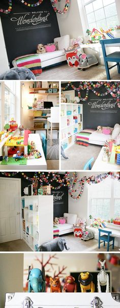 Play room – there are some things I really love here, like the simple but colorful paper chain, sectioning off the room with a tall storage unit, and creating different purposes for the different spaces of the room.