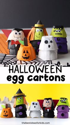 EGG CARTON HALLOWEEN CRAFTS 🎃👻- so many fun ones to make for Halloween! Make a pumpkin, witch, ghost, Frankenstein or vampire! Easy egg carton crafts for Halloween. poster for school Egg Carton Halloween Crafts Halloween Arts And Crafts, Halloween Crafts For Toddlers, Halloween Tags, Halloween Crafts For Kids, Halloween Activities, Diy Halloween Decorations, Toddler Crafts, Kids Crafts, Activities For Kids