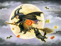 Night Ride by Lin Howard ~ flying witch ~ black cat ~ full moon ~ Halloween
