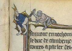 monkey and the bishop  Robert de Boron, L'Estoire de Merlin, Northern France ca. 1280-1290.