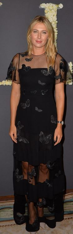 2f46b3ab36f4 Who made Maria Sharapova s black mesh buttterfly gown  Maria Sharapova  Photos