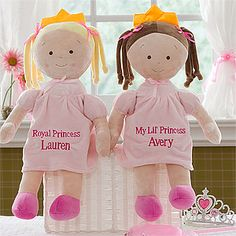 How sweet! I love how this Princess Doll is soft and cuddly and comes in blonde or brunette! You can personalize it with any 2-lines ... perfect for her Princess Party Birthday Gift! Awww I'm totally getting this! #Princess #PrincessParty #PrincessDoll #pink