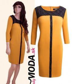Krásne žlto - čierne šaty s čiernym ozdobným prešívaním vo veľkostiach i pre moletky.- trendymoda.sk