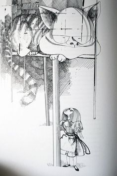 Ralph Steadman illustrated Cheshire Cat and Alice.