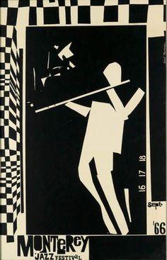 Monterey Jazz Festival, 1966  http://phasesphrasesphotos.tumblr.com/post/58620840751/monterey-jazz-festival-earl-newman-design-1966