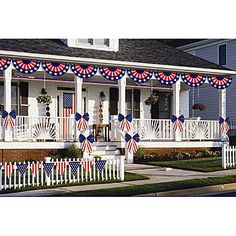 Patriotic Decorating Kit is a must have for any patriotic celebration. The outdoor Patriotic Decorating Kit is weather resistant and includes a total of 12 patriotic decorations.