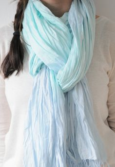 Mint and Grey Cotton Crinkle Scarf