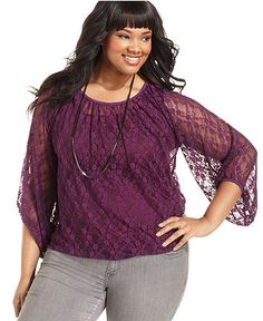 Planet Gold Plus Size Top, Three-Quarter-Sleeve Lace - Junior Plus Tops - Plus Sizes - Macy's