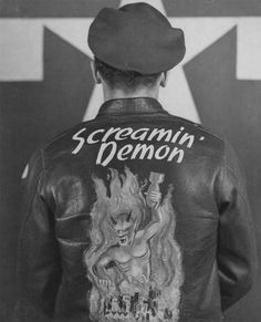 """Leather Jacket worn by crew members of the Boeing B-17 Flying Fortress ""Screamin' Demon"" of the 401st Bomb Group stationed at an 8th Air Force Base in England, 2 April 1945"""