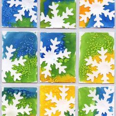 Art Trading Cards (Art Projects for Kids) Art Projects for Kids: Snowflake Art Trading Cards. Punched snowflakes glued to painted watercolor paper.Art Projects for Kids: Snowflake Art Trading Cards. Punched snowflakes glued to painted watercolor paper. Christmas Art Projects, Winter Art Projects, Winter Crafts For Kids, Holiday Crafts, Fun Projects, Kids Crafts, Winter Kids, Winter Crafts For Preschoolers, Winter Preschool Crafts