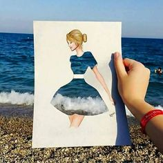 Funny pictures about Ocean Dress. Oh, and cool pics about Ocean Dress. Also, Ocean Dress photos. Creative Photography, Art Photography, Art Sketches, Art Drawings, Pencil Drawings, Inspiration Art, Funny Art, Creative Art, Creative Drawing Ideas