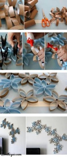 Wall invention decor made with old toilet paper rolls