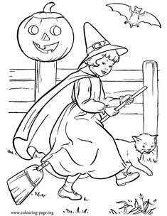 Here, a pretty little girl is dressed as a witch and riding her broom. Enjoy the Halloween to coloring this amazing picture and have fun!