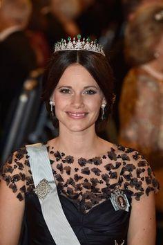 Nobelpreis 2015: Prinzessin Sofia trägt die Tiara, die sie zum ersten Mal bei ihrer Hochzeit getragen hat im Juni.