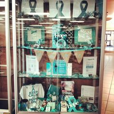 #GotTealD idea...Library Display Case Library Displays, Display Case, Cancer, Teal, Gallery, Board, Design, Glass Display Case, Display Window