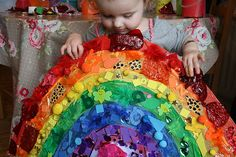 Giant Rainbow Collage This activity is good for: * recognizing, naming and matching colours * sorting and matching according to one criteria * creativity * fine motor skills development through tearing, sorting and sticking * working together on a collaborative project (PHSE)
