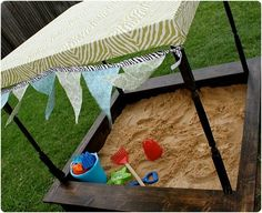 Love the idea of this sandbox--much better than the plastic turtle look!