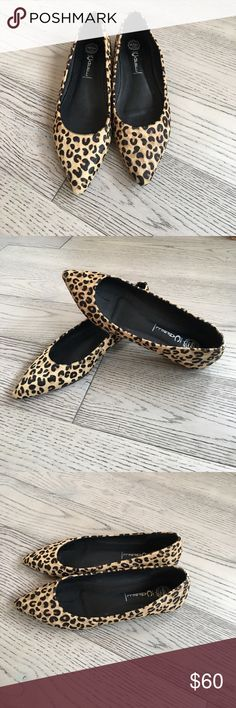 ⭐️Editor Pick! ⭐️Animal print flats Animal print pointy flats. Genuine calf pony hair with leopard print. Gorgeous shoes. Purchased from another Posher but sadly too small. They say 9.5 but closer to a 9. Excellent condition. Jeffrey Campbell. Jeffrey Campbell Shoes