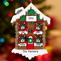 Catalog Spree - Personalized Bear Cabin Family Ornament - Christmas Ornaments - Personal Creations