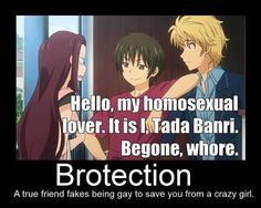 [Golden Time]  Correction: A true friend /IS/ gay to save you from a crazy girl.